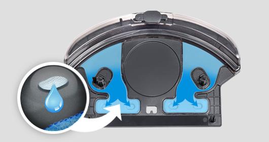 Duoro Xclean robotický vysavač. Vytírá na mokro s postupným dovlhčováním mopu a tím šetří citlivé podlahy.
